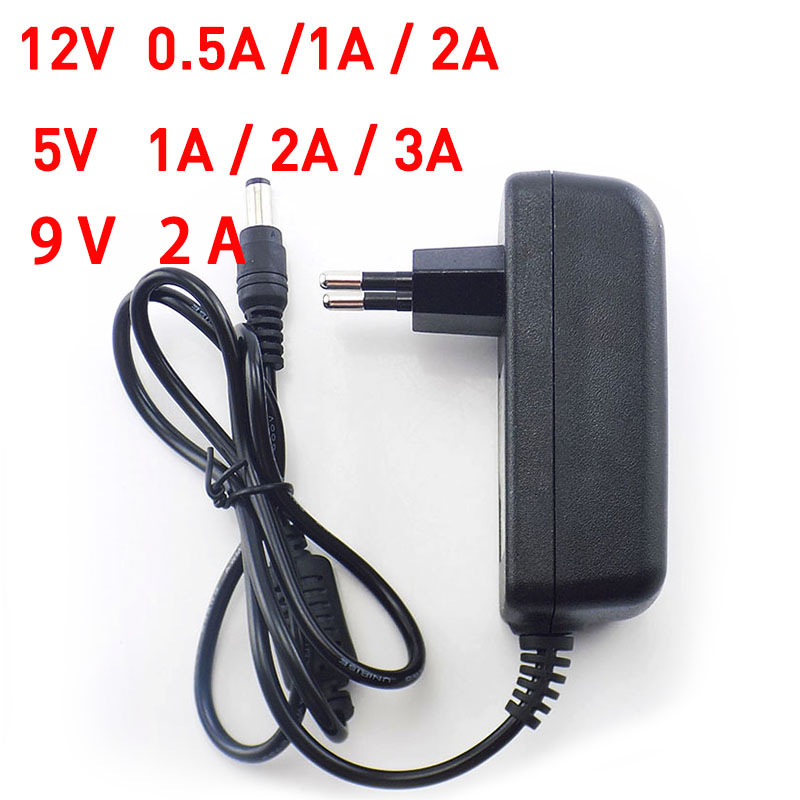 AC to DC 100-240V 5V 12V 9V 1A 2A 3A 0.5A Power Adapter Supply plugCharger adapter EU Plug 5.5mm x 2.1/2.5mm for CCTV LED Strip стоимость
