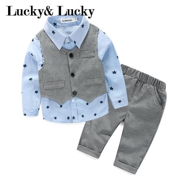 Cavalheiro roupas de bebê menino camisa de manga longa + colete + calça casual para o casamento e festa roupa do bebê recém-nascido