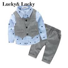 Gentleman baby boy kleding lange mouw + vest + casual broek voor bruiloft en partij pasgeboren baby kleding