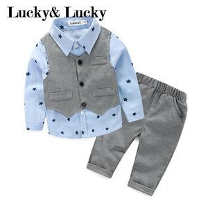 Image 1 - Gentleman baby boy kleding lange mouw + vest + casual broek voor bruiloft en partij pasgeboren baby kleding