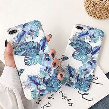 Lovecom Blauw Bananenblad Telefoon Case Voor Iphone 11 Pro Max Xr Xs Max 6 6S 7 8 Plus X Soft Imd Vintage Bloemen Telefoon Back Cover(China)