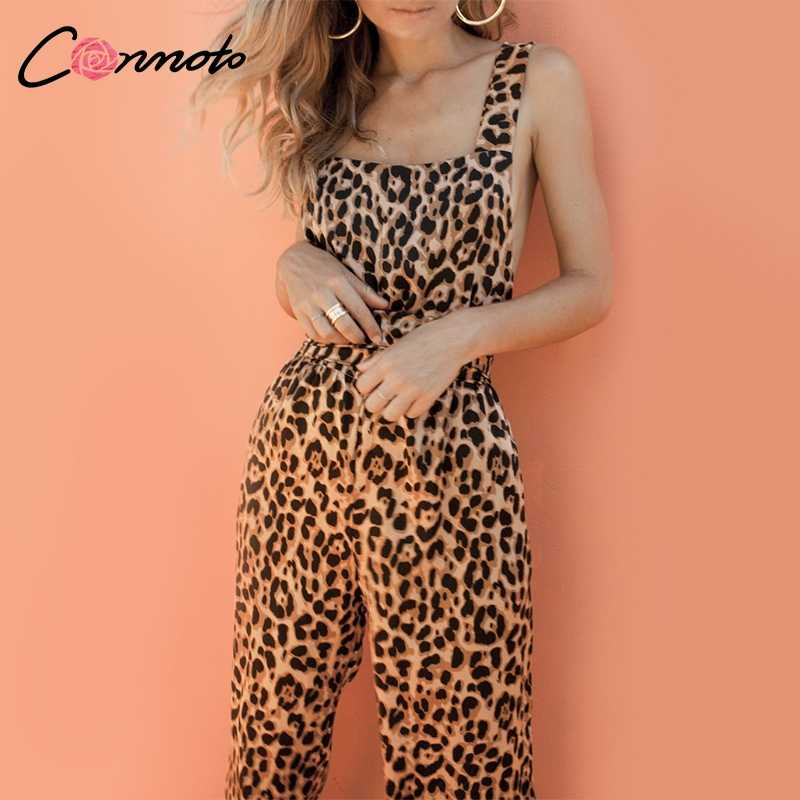 287e0b5cdc Conmoto Trendy Backless Harem Jumpsuit Leopard Print Jumpsuit Women Long  Rompers Sexy Club Casual Overalls