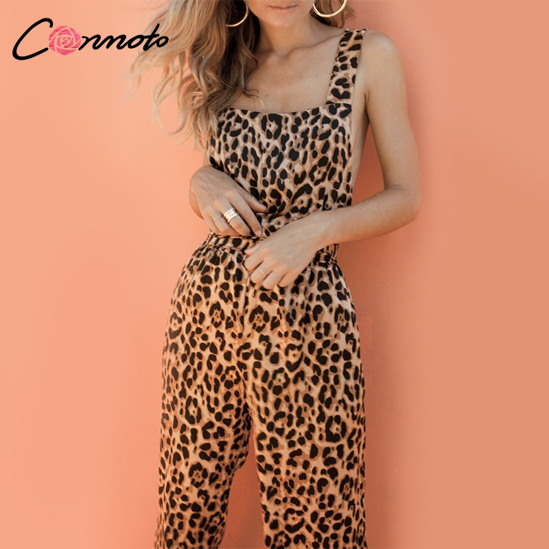 Conmoto Trendy Backless Harem Jumpsuit Leopard Print Jumpsuit Women Long Rompers Sexy Club Casual Overalls