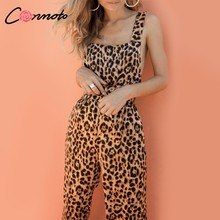 Conmoto Trendy Backless Harem Jumpsuit leopardo estampado mono mujer mono largo Sexy Club Casual overol(China)
