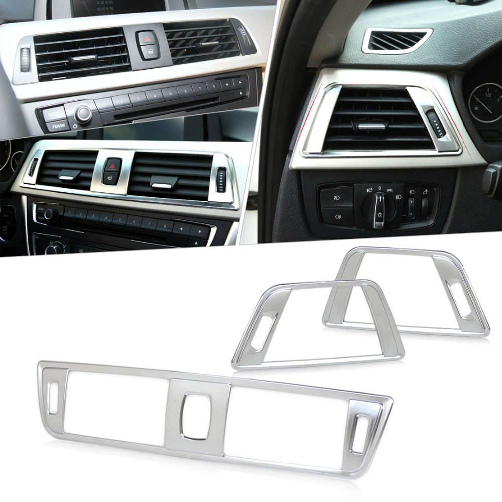 CITALL 3pcs New set Chrome Dashboard Air Vent Cover Trim for BMW <font><b>3</b></font> Series F30 2013 2014 2015 <font><b>2016</b></font> image