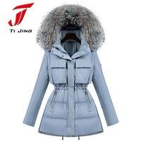 2017 Fur Winter Jacket Women White Duck Parka Jackets Natural Raccoon Fur Collar Female Winter Coat