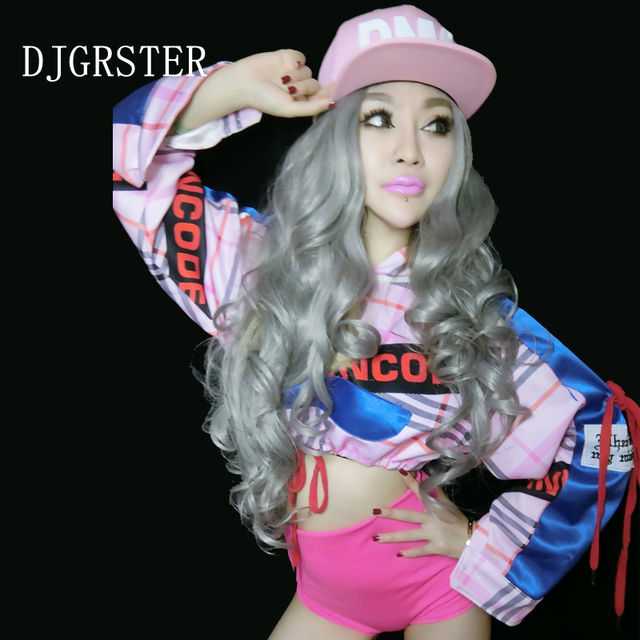 58f7f18bb DJGRSTER New Sexy Jazz Dance Stage Costumes For Singers Hip Hop Dance  Costume Female Ds Dj Pink Jacket+Shorts Nightclub Costumes