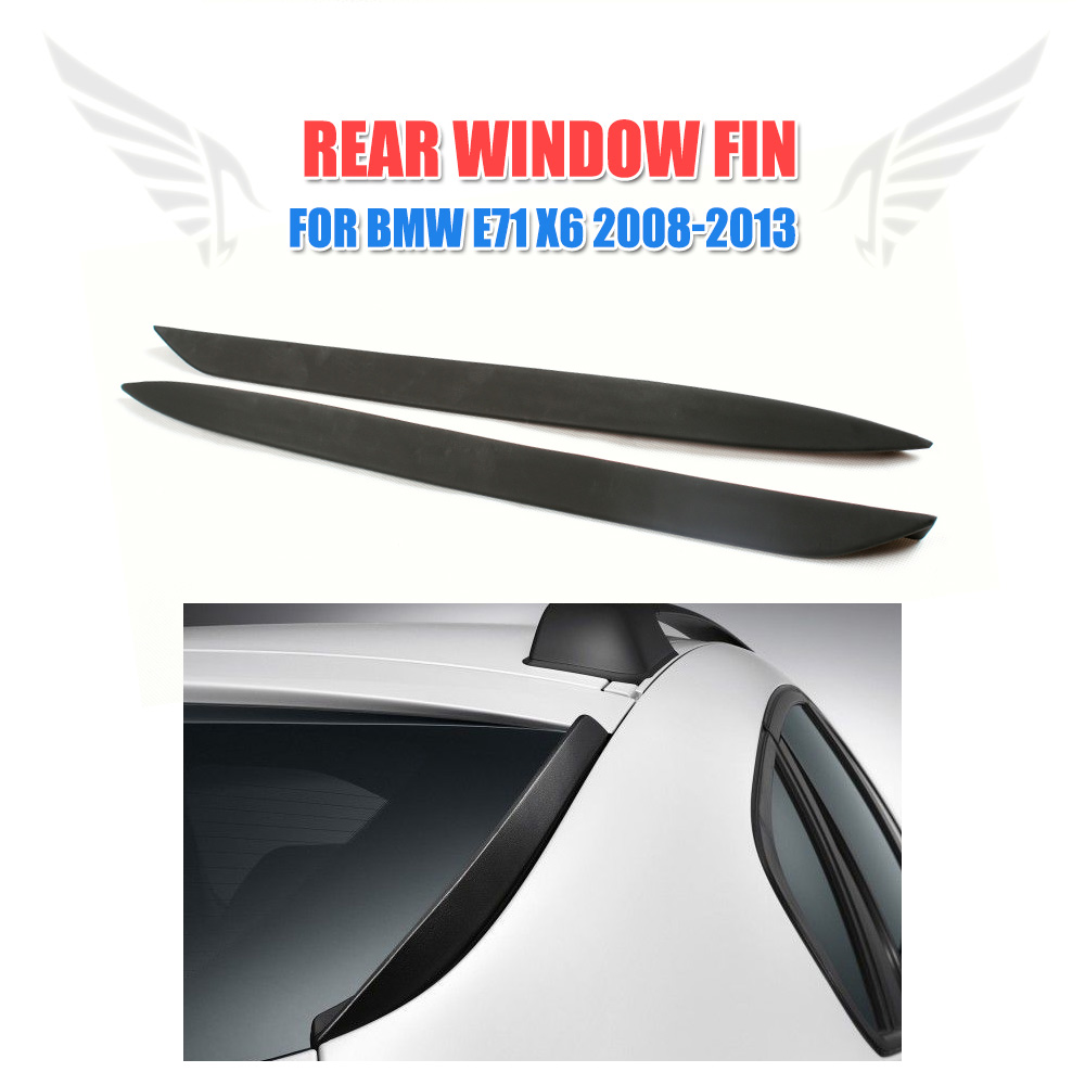 цена на Rear Window Fins Chin Spoilers Windshield Wings For BMW X6 E71 2008-2013 Trunk Trim Stickers 2PCS/Set PU Black Car Styling