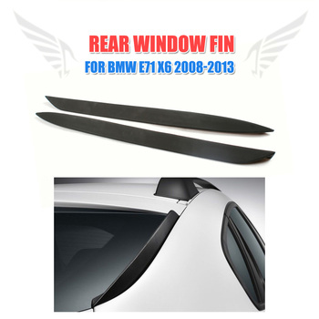 Rear Window Fins Chin Spoilers Windshield Wings For BMW X6 E71 2008 - 2013 Trunk Trim Stickers 2PCS/Set PU Black Car Styling image