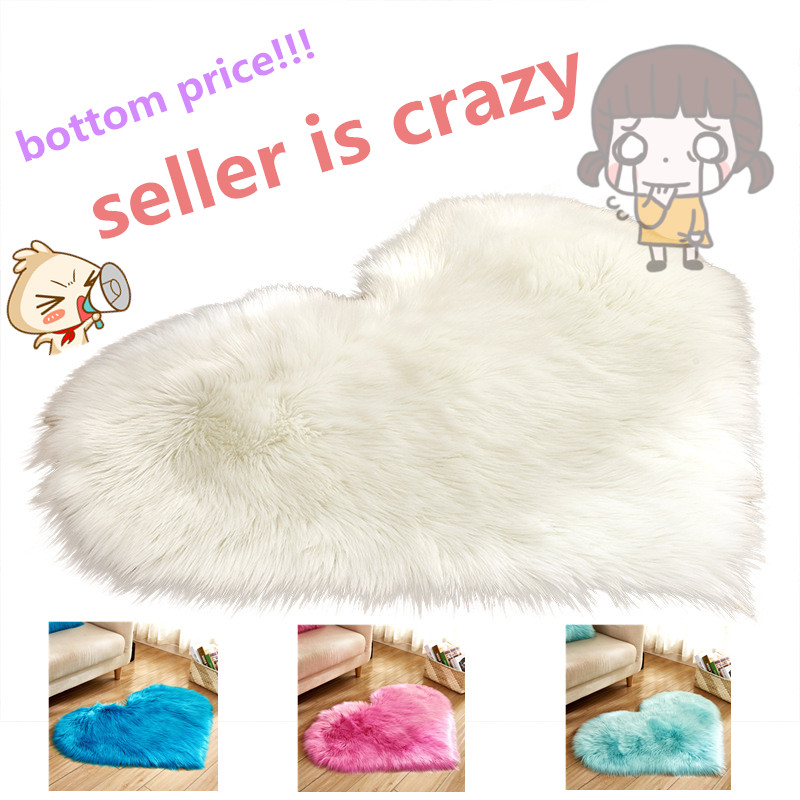 Hot Sale Heart Shape Faux Sheepskin Chair Cover  Warm Hairy Wool Carpet Seat Pad Long Skin Fur Plain Fluffy Area Rugs Washable