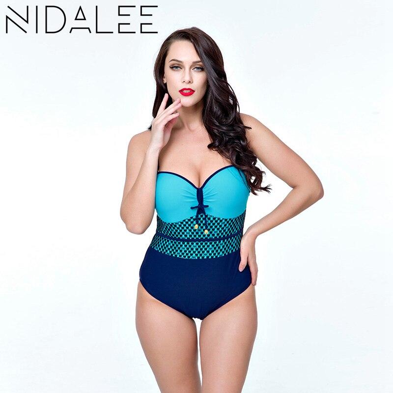 NIDALEE Monokini Swimsuits of Large Size One Piece Plus Size Swimwear Women Push Up Bikini Set Plus Size 4XL