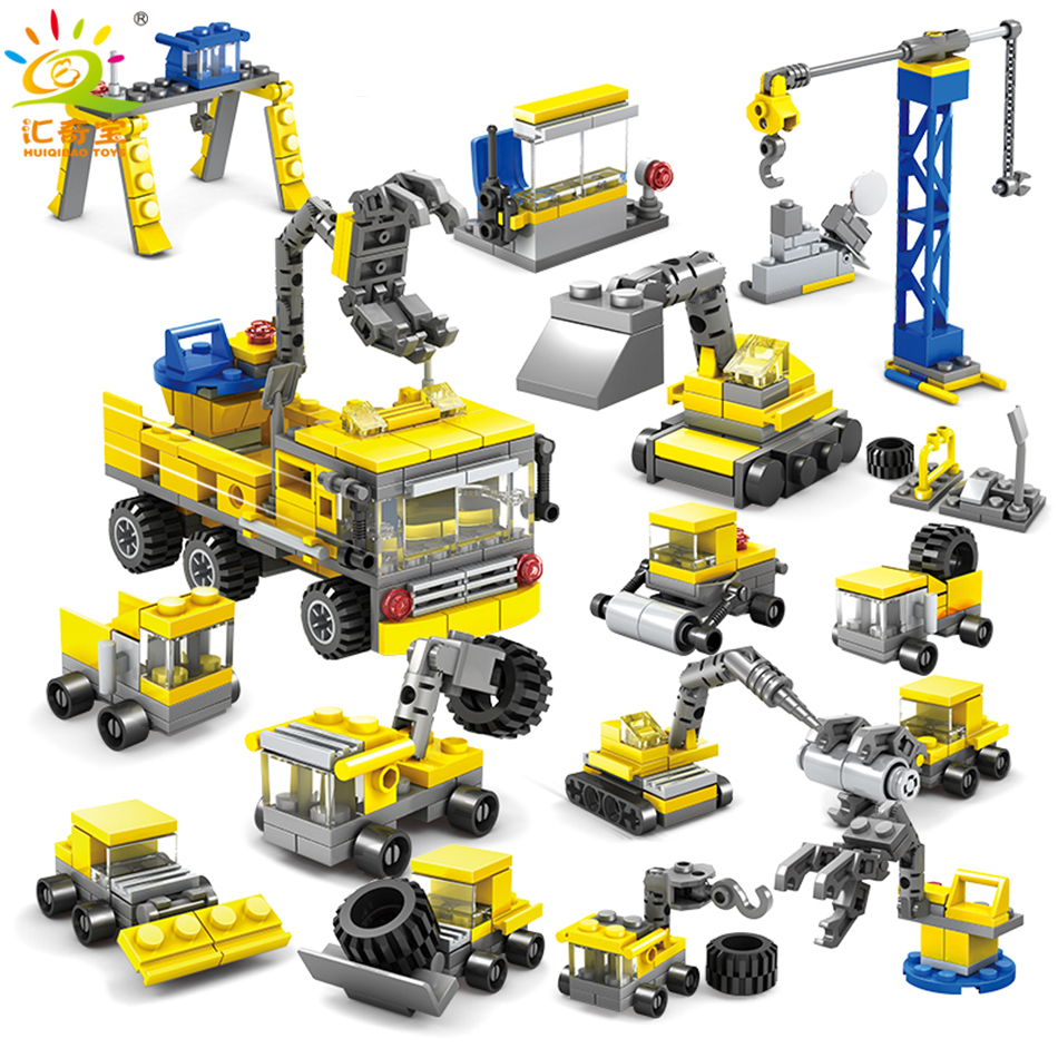 318PCS 16 in 1 Engineering Excavator Forklift Building Blocks Compatible Legoed City Construction Bricks Toys For Children Boys 196pcs building blocks urban engineering team excavator modeling design