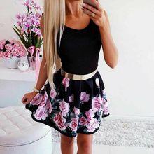 Elegent Women Floral Dress Vintage Ruched Sleeveless Patchwork Flower Sundress Evening Beach Mini Summer Fashion Clothes