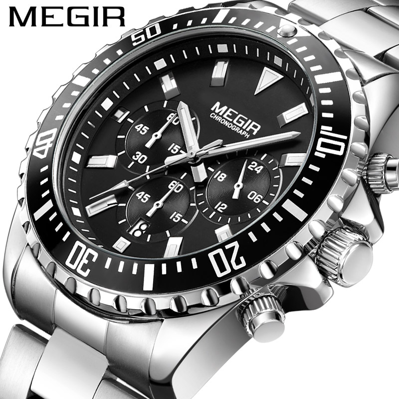 MEGIR Chronograph Mens Watches Top Luxury Brand Clocks Military Army Sport Clock Steel Strap Quartz Date Men Male Watch Box 2064