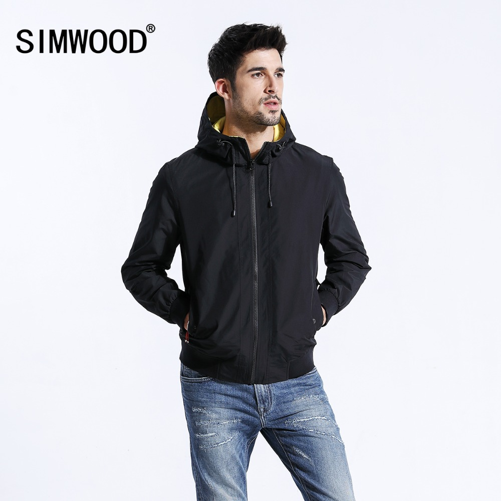 SIMWOOD Brand Jackets New 2019 autumn Jacket Men Thin Windbreaker Fashion Casual Black Coats Slim fit Plus Size Outerwear 180381-in Jackets from Men's Clothing    1