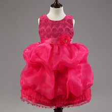2016 New Flower Girls Dress Elegant Lace Mesh Wedding Birthday Party Dresses Baby Kids Vestidos Infantils Children Clothes C22
