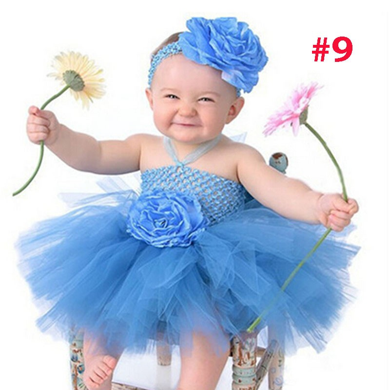 Toddler Girls Fancy Princess Tutu Dress Holiday Flower Double Layers Fluffy Baby Dress with Headband Photo Props TS044 25