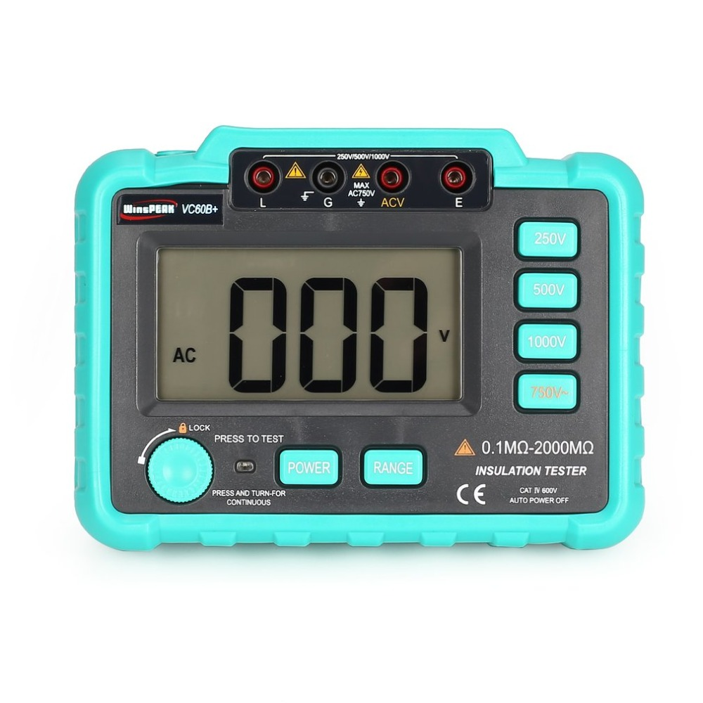 VC60B+ 1000V Digital Auto Range Insulation Resistance Meter Tester Megohmmeter Megger High Voltage LED Indication mastech ms5215 high voltage digital insulation resistance tester megometro megger 5000v 3ma temp 10 70c