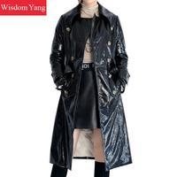 Зимние элегантные черные из натуральной овчины лакированная кожа пуховики и парки для мужчин пальто теплые женские длинные дамы пальт