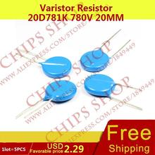 1 лот = 5 шт. Варистор резистор 20D781K 780 В 20 мм Series20D