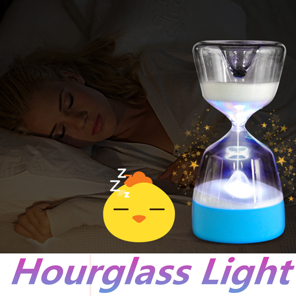 Hourglass Timer Glass Sleep Timers Sandglass 15minutes Cut Down Night Light Lamp Changed Color Desk Moment Clock Home DecorF1226