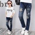 2017 Новых детских одежда для больших девочек джинсы для Весны и Осени девушки Случайные Прямые Джинсы для 3-12Y