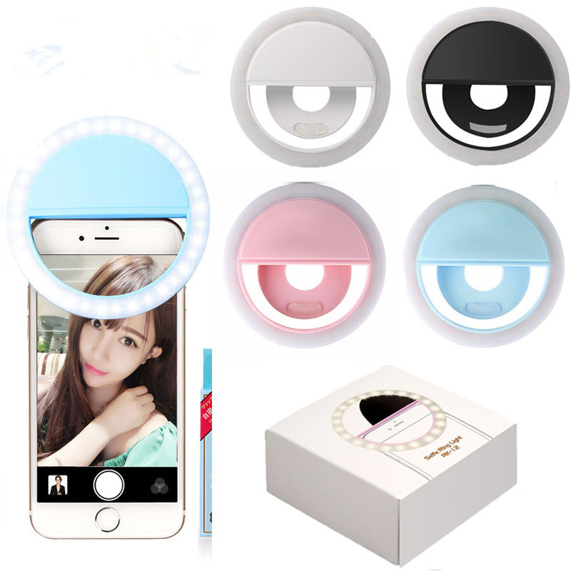 4PCS Selfie Fill LED Flash Lens Beauty Fill Light Lamp Novelty Clip USB Rechargeable 36 Leds Smartphone Photo Camera Ring