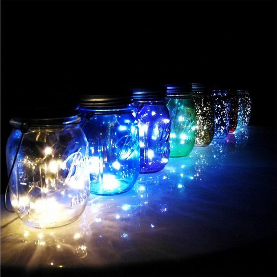 LED Fairy Light Solar Powered For Mason Jar Lid Insert Color Changing Garden Decor For Party Decor Dropshipping July#1