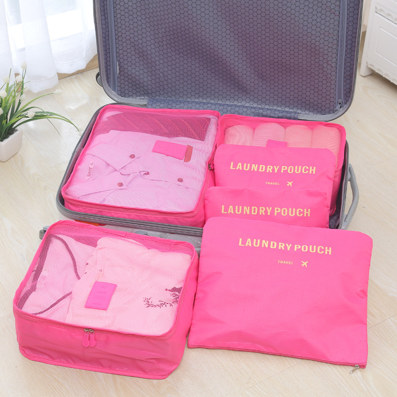 6pcs set Fashion Double Zipper Waterproof Polyester Men and Women Luggage multi functional suitcase Travel Bags