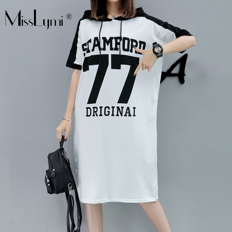 XL-5XL Plus Size Women Hoodie Dress Summer 2018 Fashion Number 77 Print Short Sleeve Loose Casual Midi Dresses with Pockets