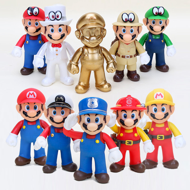 Us 29 92 27 Off 10pcs Super Mario Bros Figures Toys 12cm Mario Bros Luigi Mario Maker Police Captain Odyssey Pvc Action Figure Model Doll Toy In