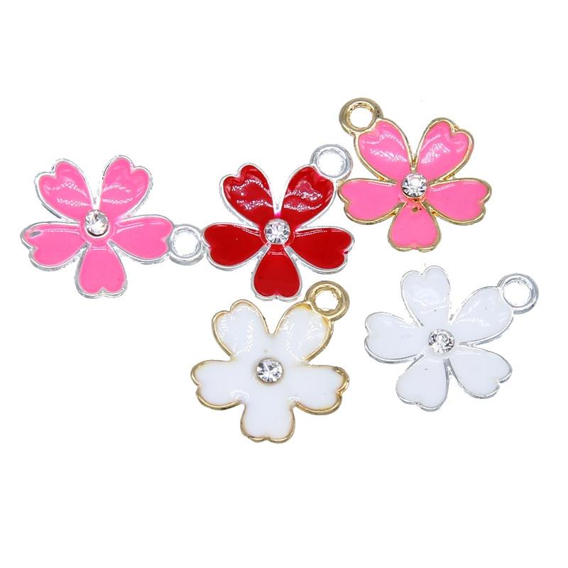 6pcs Diy Bracelet Jewelry Accessories Drip Alloy Pendant Bracelet Necklace Pendant Drop Oil Sakura Flower Material