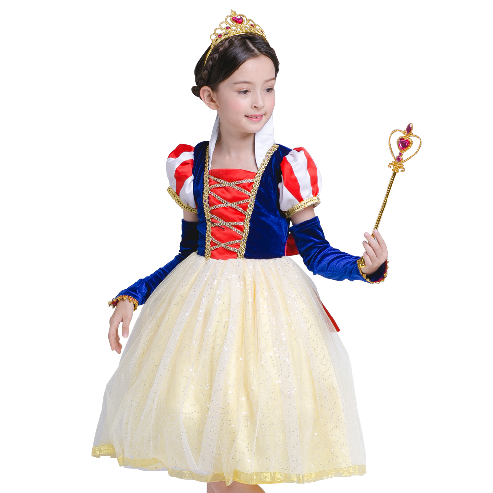christmas Princess snow white costume Girl kids Dresses For Hallowmas Clothes White Snow Cosplay Party Princess Dress vestidos