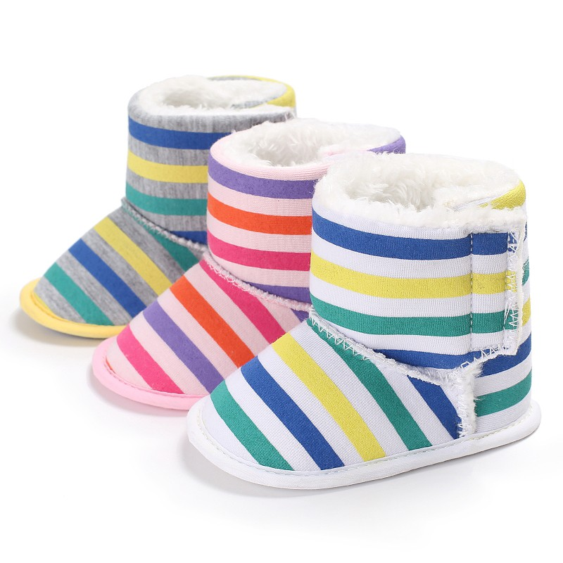 Hot Newborn Baby Girls Boys Winter Autumn Crib Babe Kids First Walkers Stripped Infant Toddler Keep Warm Shoes