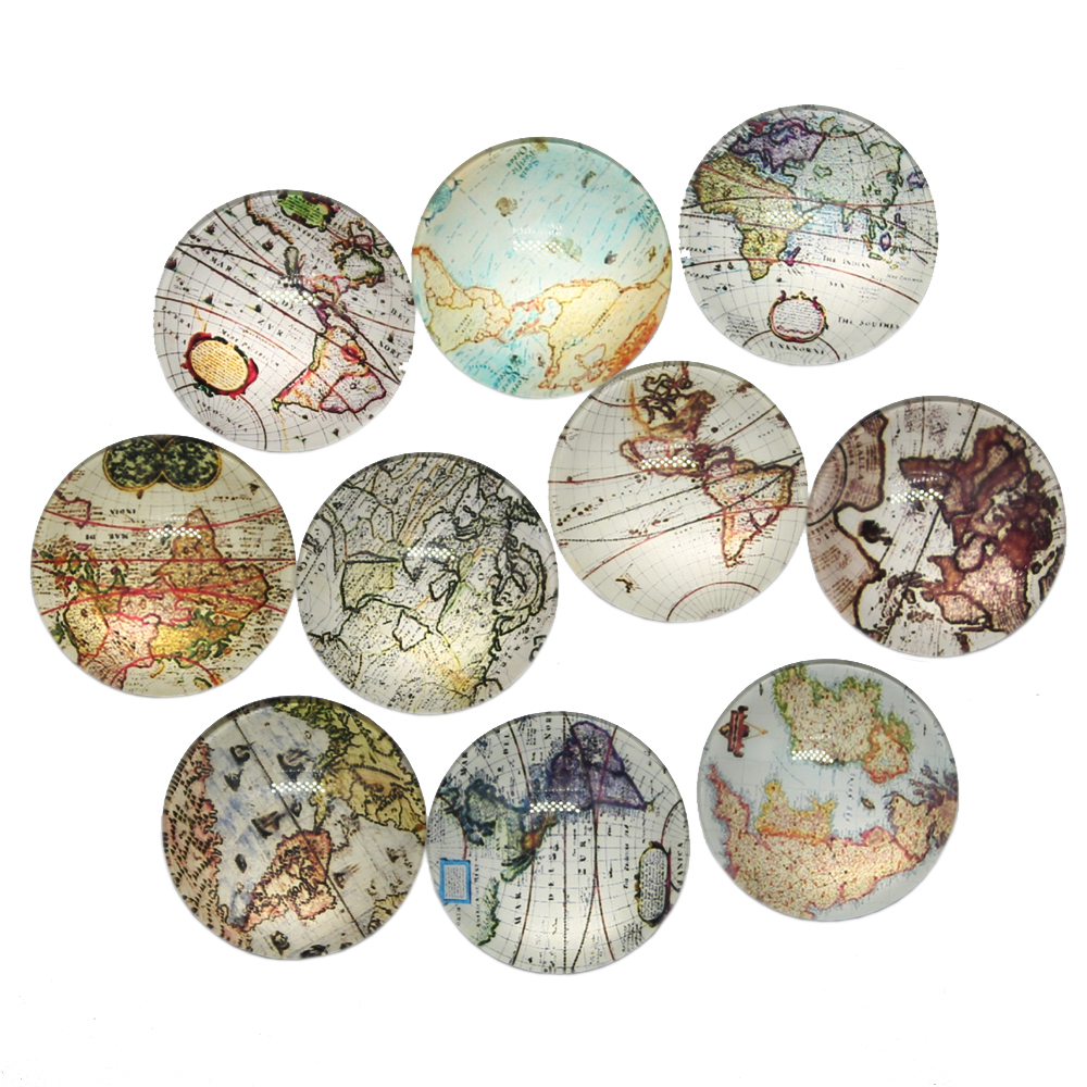 New Fashion 10pcs 25mm Mixed Earth World Map Handmade Cabochons Glass DIY Embellishment For Crafts Jewelry Making