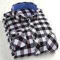 Primavera nueva blusa de los hombres de moda casual de algodón de manga larga camisas a cuadros hombres esmerilado ropa de gran tamaño S-4XL