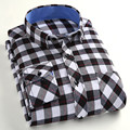 Spring new men's blouse fashion casual cotton long-sleeved plaid shirts men sueding clothing large size S-4XL