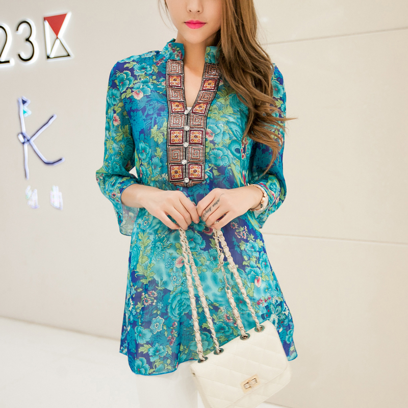 Plus Size S-XXXXXL New Summer Embroidery Print Chi...