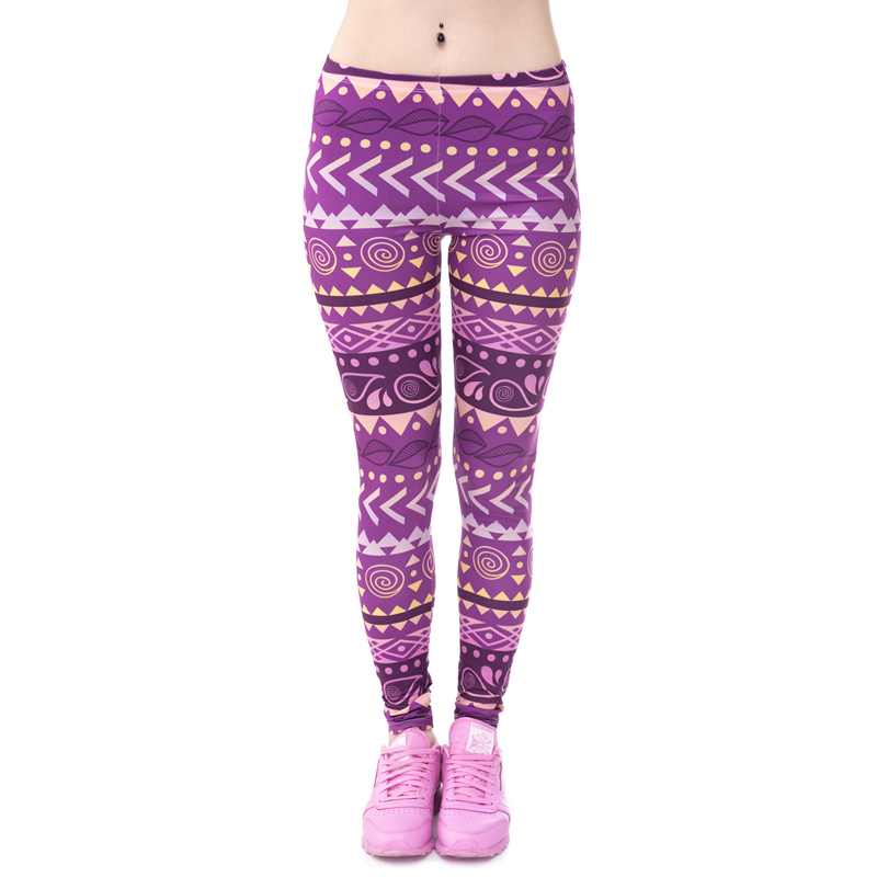 Brands Women Fashion Legging Aztec Round Ombre Printing leggins Slim High Waist  Leggings Woman Pants 35