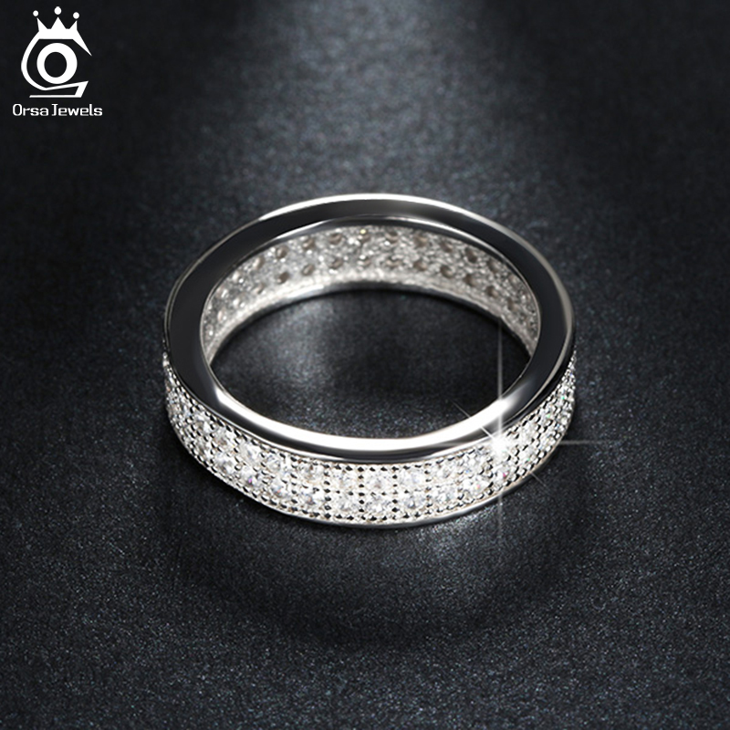 ORSA JEWELS Fashion Wedding Band Engagement Ring Paved 76 Pieces AAA Austrian Cubic Zirconia Fashion Women Jewelry Rings OR121 цены онлайн