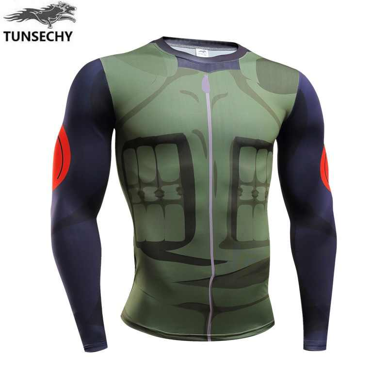 TUNSECHY 2019 Новинка фитнес компрессионная футболка Уилл Мужская Наруто Броня Наруто бодибилдинг с длинным рукавом 3D футболки