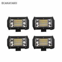 ECAHAYAKU New Dual 5inch 72w Led Work Light Bar Flood Lamp Driving Offroad Lights 12V Off Road Bulb Motorcycle 4x4 (Pack of 4) цена