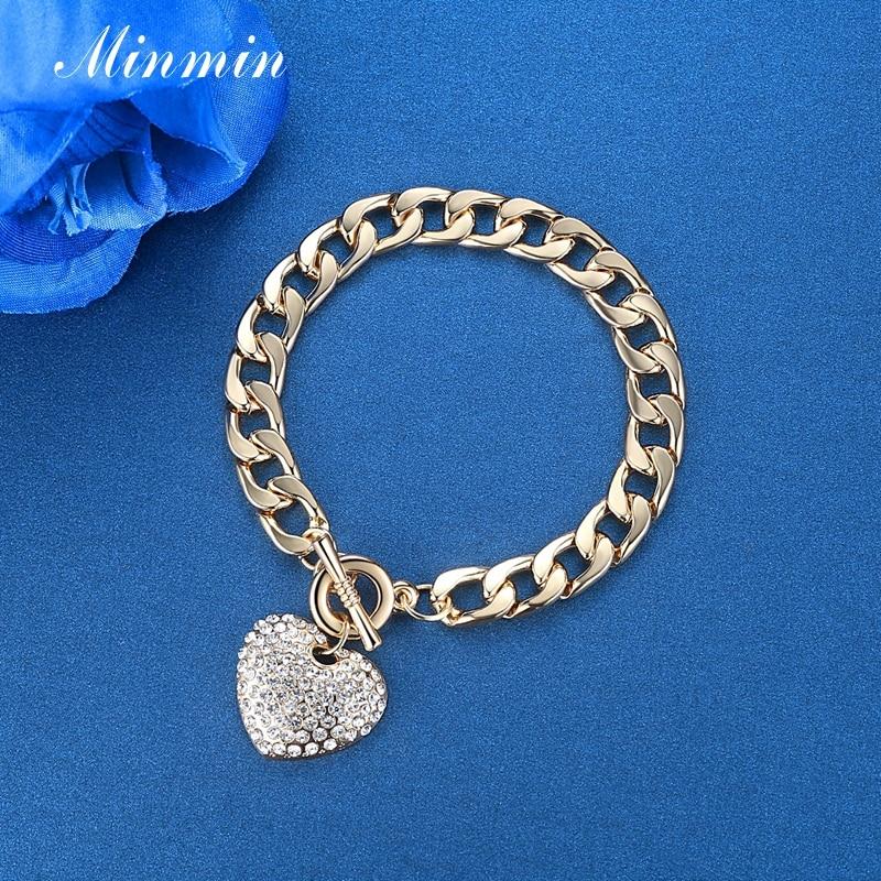 Minmin lijepo zlato / srebro boja narukvice za žene srce kristal - Modni nakit - Foto 4