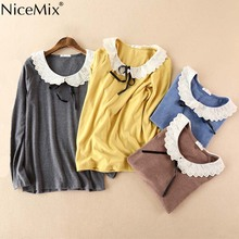 NiceMix 2017 Spring Summer Casual T Shirt Women Tops Tees Lace T-shirt Loose Long Sleeve Harajuku Top Cotton Shirts Femme