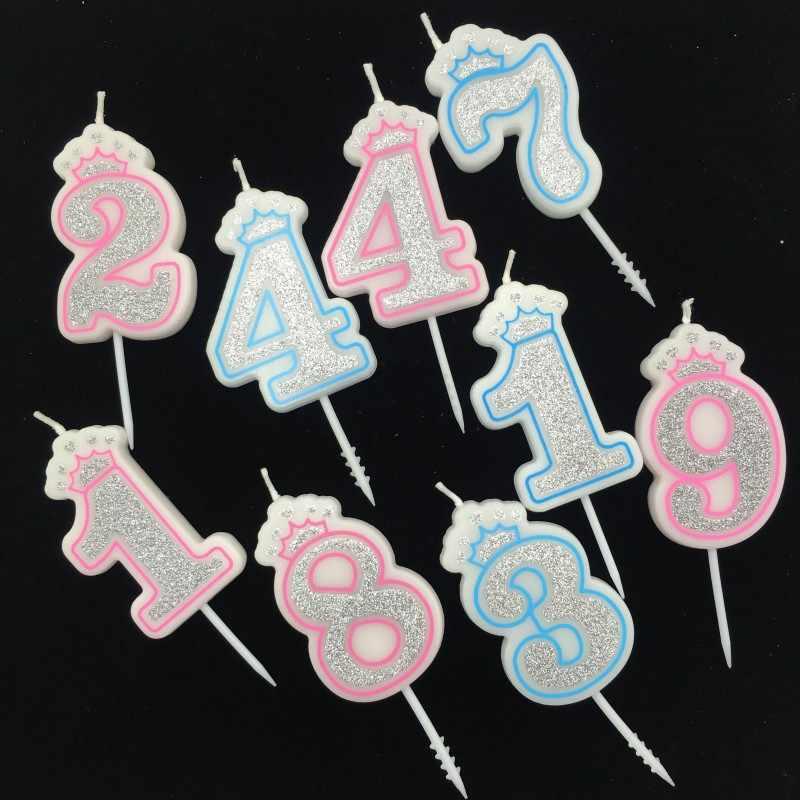 Shinning Sliver Rosa/Coroa Azul Feliz Aniversário Velas Número 0-9 para Crianças Adulto Meninas Festa de Aniversário Velas decoração do bolo
