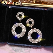 CANNER Shining Circle Drop Earrings Jewelry For Women Earing Gold Rhinestone Crystal Ear Ring Wedding Gifts F4