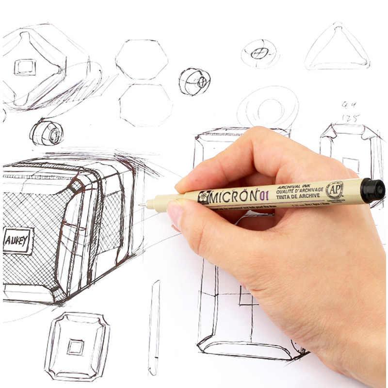SAKURA Pigma micrón pluma aguja de dibujo 003 005 1,0 01 02 03 04 05 08 pincel marcadores de punto fino pluma 10 piezas dibujo arte