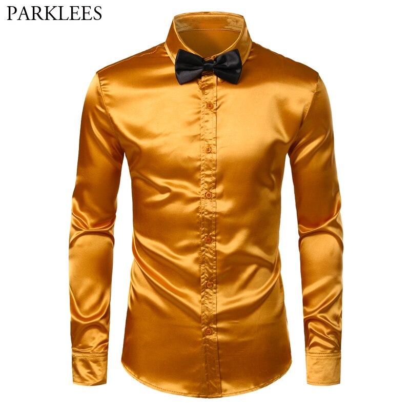 Shiny Gold Silk Dress Shirt Men 2019 Satin Smooth Men Slim Fit Button Down Shirts Mens Party Wedding Prom Shirt With Bowtie 3XL