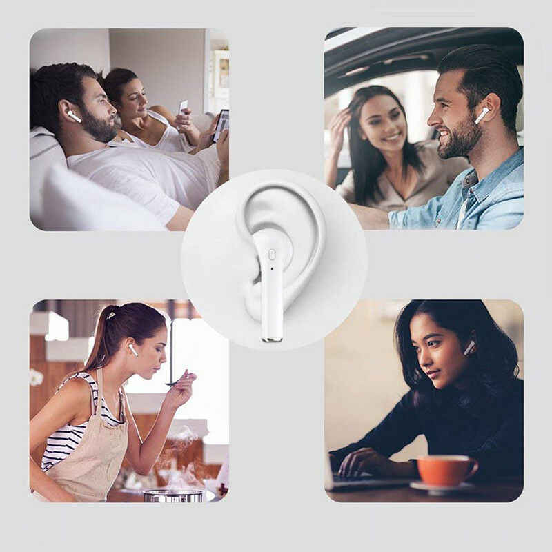 Top Jual I7s Tws Mini Wireless Bluetooth Earphone In-Ear Stereo Earbud Headset dengan Pengisian Kotak MIC untuk Semua Ponsel Pintar