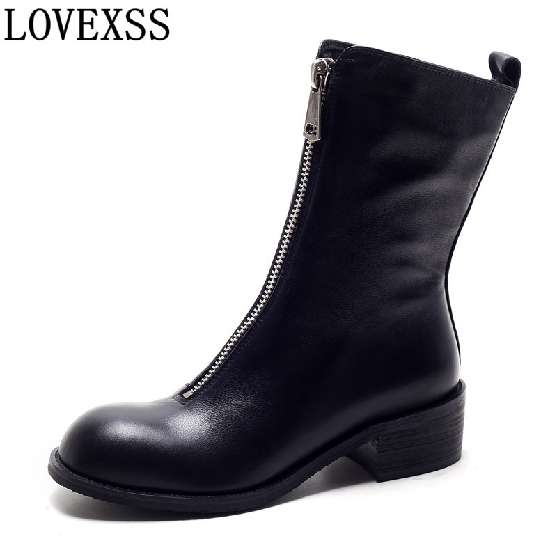 LOVEXSS Women Cow Leather Round Toe Ankle Boots Winter Fashion Zipper Black Apricot Cow Leather Round Toe Ankle Boots 2017 2018 fashion cow leather zipper superstar winter boots women round toe low heel solid concise pregnant chelsea ankle boots l08